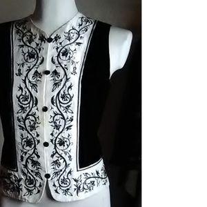 Ann Taylor Black White Velvet Vest Size 2